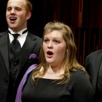1202-05 251.CR2  Mason Neipp and Cassie Rindlisbacher perform a piece from the BYU Singers' diverse repertoire which includes gospel, international, sacred, and traditional folk music.  February 1, 2012  Photography by Mark A. Philbrick  Copyright BYU Photo 2012 All Rights Reserved photo@byu.edu  (801)422-7322