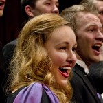 1202-05 268.CR2  Kristin Hyde expresses the joy of music that the BYU Singers' have shared as an internationally touring group to audiences in 27 countries including Germany, Switzerland, Italy, England, Egypt, Australia, Ghana, Wales, and Ireland.   February 1, 2012  Photography by Mark A. Philbrick  Copyright BYU Photo 2012 All Rights Reserved photo@byu.edu  (801)422-7322