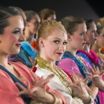 "Folk Dancers (front row) Nell Cunningham, Amber Shepherd (soloist with head to camera), Emily Hatch, Danielle Braghini, Kaitlyn Kunkel, and Jaymie Lambson performing an Indian Bollywood dance ""Nagada Nagada"" in 2013. 