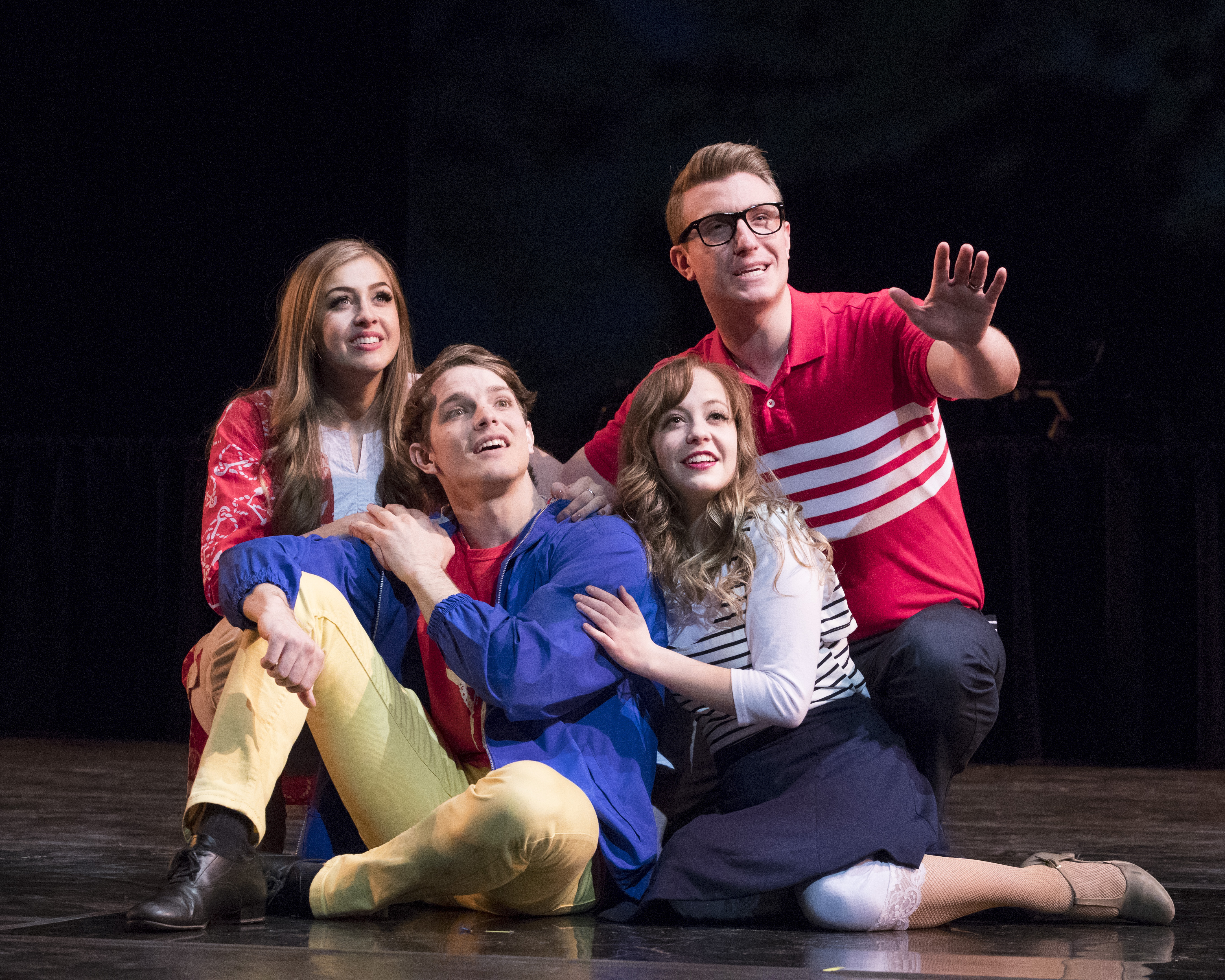 From left to right: Breearna Mandla, Caleb Allred, Hannah Pyper, and Preston Taylor performing in 'Welcome Home.' Photo by Jaren Wilkey/BYU  © BYU PHOTO 2017 All Rights Reserved photo@byu.edu  (801)422-7322