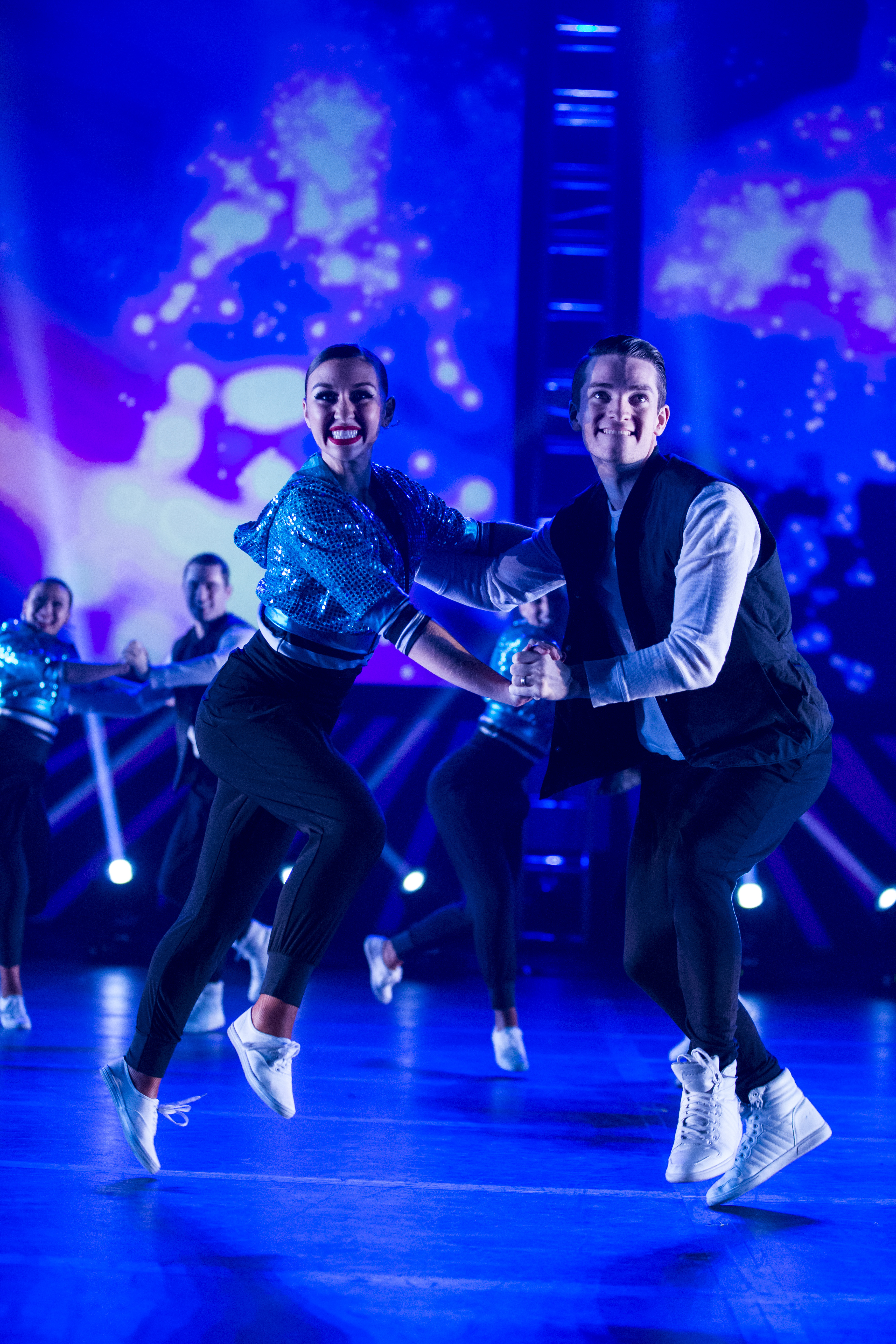 Makayla Bezzant and Chayce Baldwin takes the lead in the fun number, 'Hit the Road Jack.' Photo by Tabitha Sumsion/ BYU Photo 2017