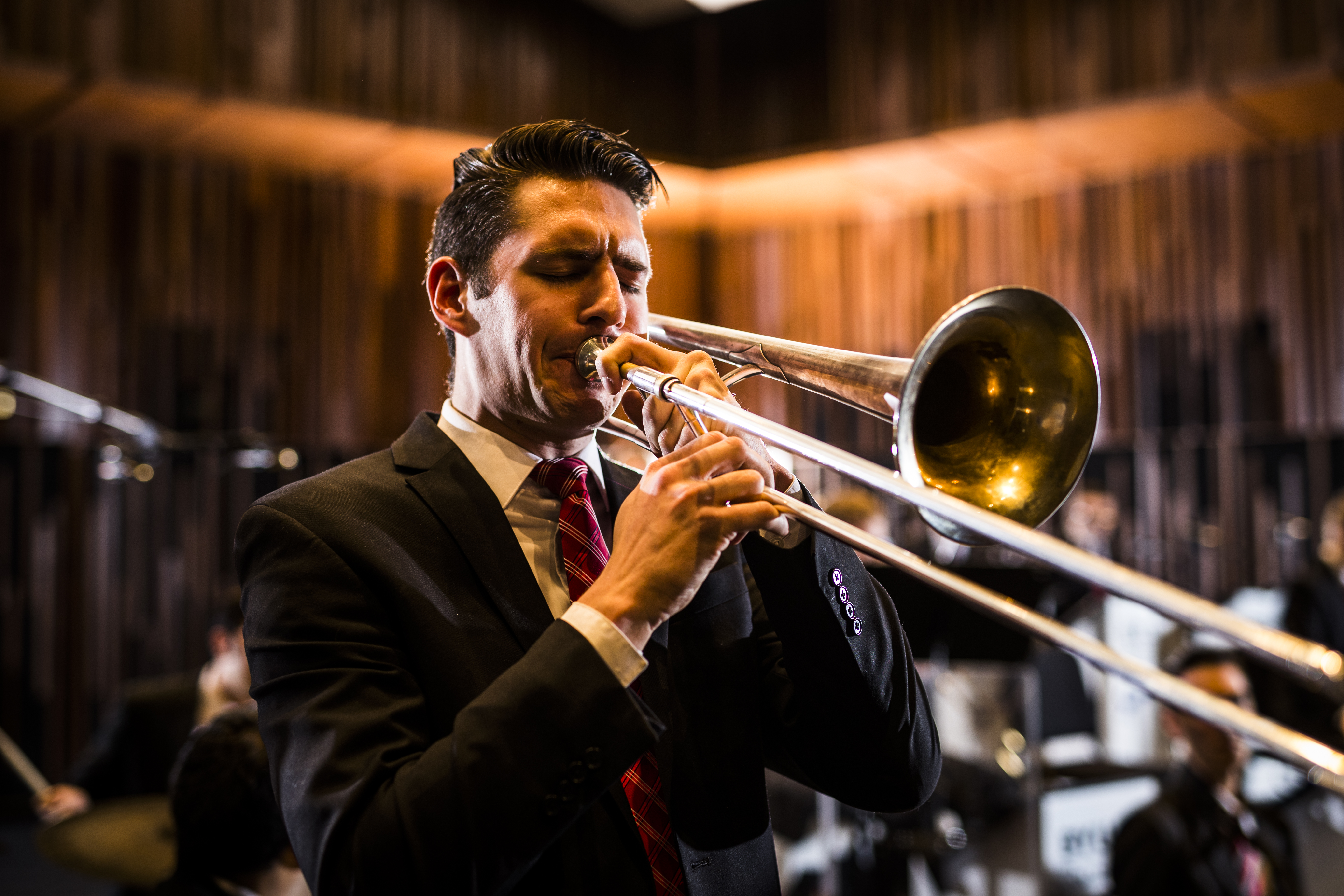 Nelson Campbell playing the trombone for Synthesis Photoday.