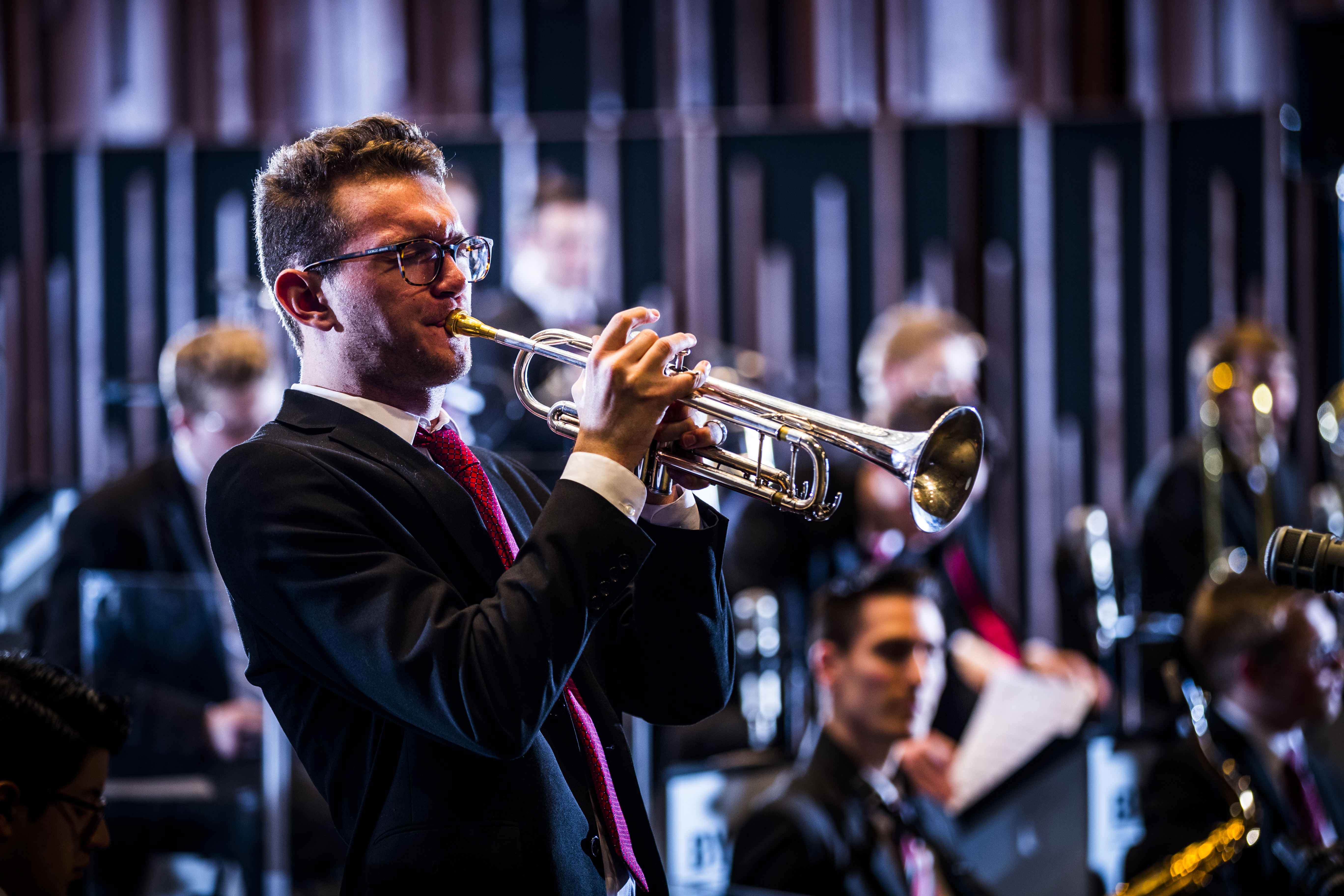 Joseph Sandholtz performing a solo on the trumpet