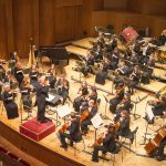 The Chamber Orchestra at a concert hall in Győr, Hungary. Photography by Mark A. Philbrick. Copyright BYU Photo 2014.