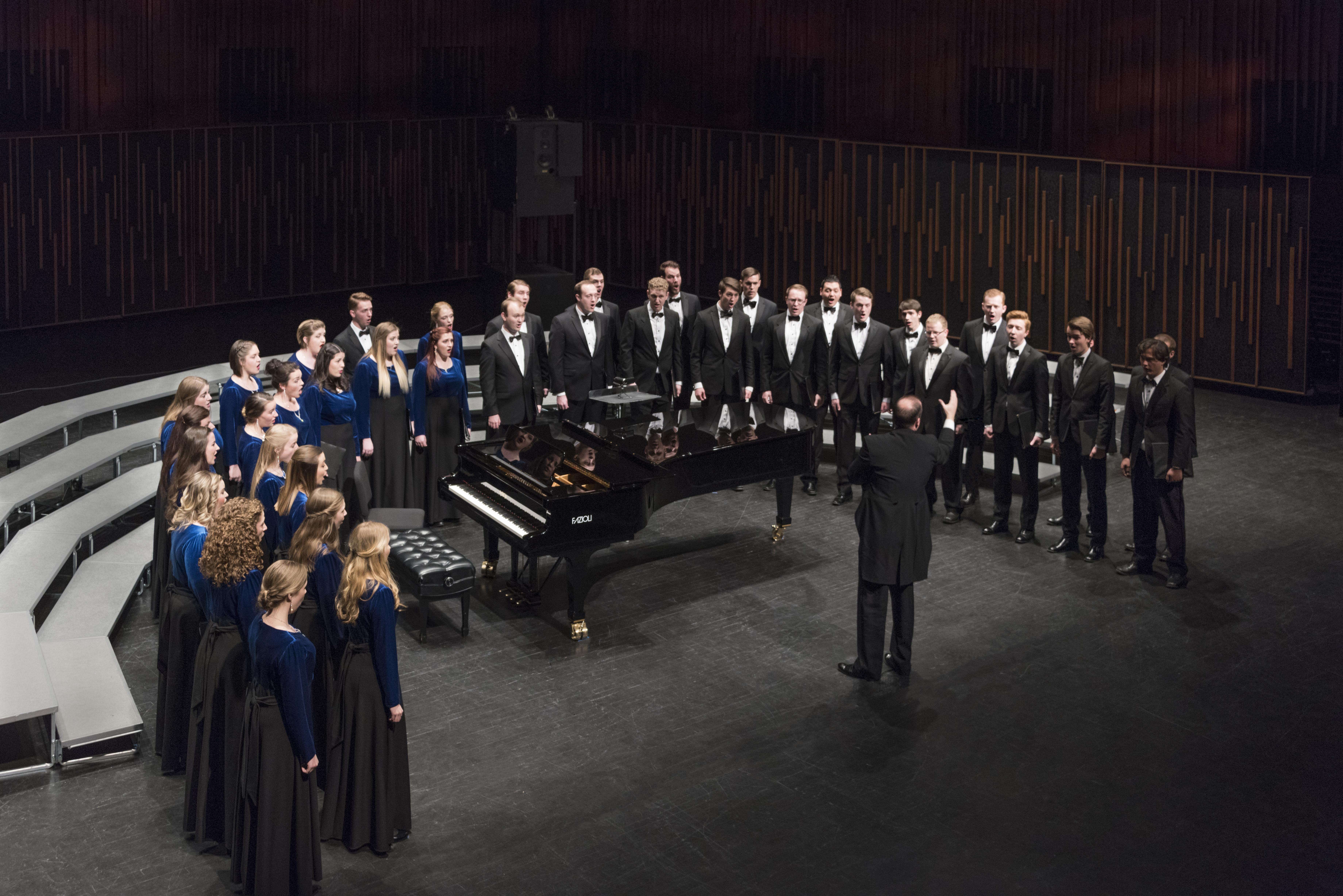 BYU Singers during their 2017 April concert at BYU de Jong Concert Hall. Photo by Sandefur Schmidt.