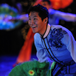 Folk Dancer Ken Nukaya performing the Chinese, 'Red and Green' at BYU's 2015 Christmas Around the World.