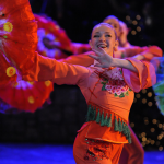 Folk Dancer Emily Huckstep performing the Chinese, 'Red and Green' at BYU's 2015 Christmas Around the World.