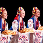 Folk Dancers Victoria Ringer, Mary Beth Johnson, Amanda Alley performing the Ukrainian 'Hopak.'