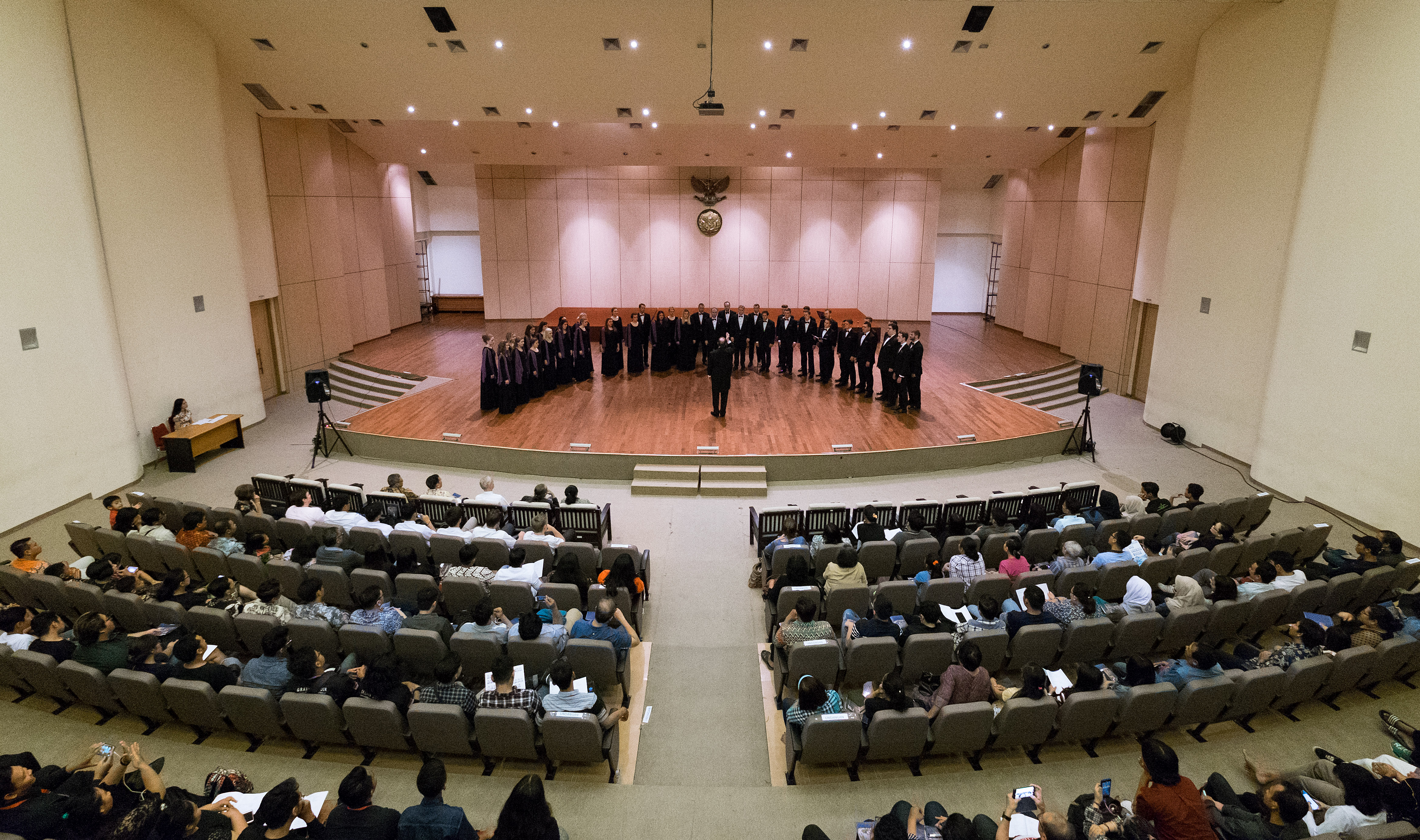 The BYU Singers at the Institut Seni Indonesia Concert Hall. BYU/Jaren  ©2017 BYU PERFORMANCE ART MANAGEMENT All rights reserved.   BYU PAM (801) 422-3576