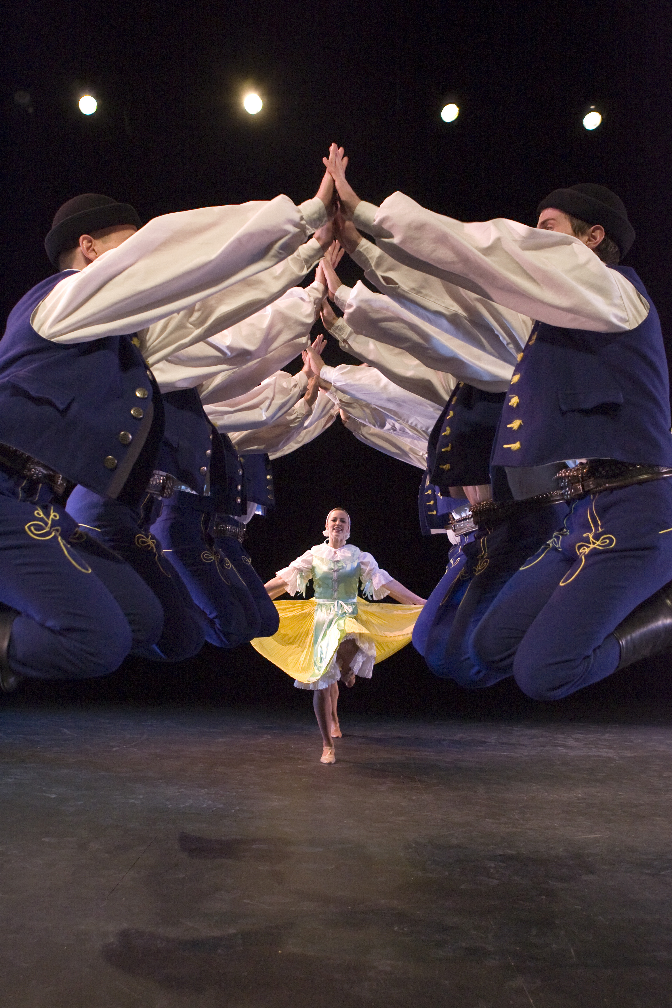 "International Folk Dance Ensemble performing""Verbunk"", as part of a suite of Slovakian dances titled ""Lúčnica,"" in 2007. Photo by Mark Philbrick."