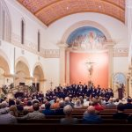 BYU Singers being conducted by Andrew Crane for a performance in St. Augustine Cathedral in Tucson, Arizona during their 2016 tour. Photo by Sandefur Schmidt.