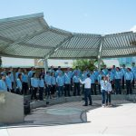 BYU Singers performing outside at Mesa Community College during their 2016 Arizona tour. Photo by Sandefur Schmidt.