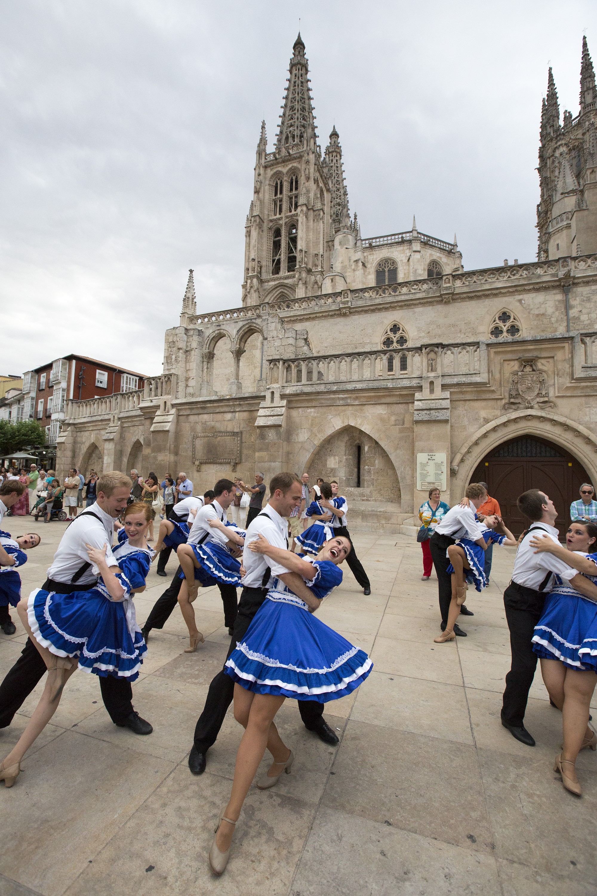 American Folk Dance Ensemble performing at the 2015 International Folkloric Festival 'Ciudad de Burgos', in Spain. Photo by Mark Philbrick. Burgos, Spain International Folkloric Festival Ciudad de Burgos Parade and Performance with Cuba  July 17, 2015  Photography by  Mark A. Philbrick/BYU  Copyright BYU Photo 2015 All Rights Reserved photo@byu.edu (801)422-7322  7965