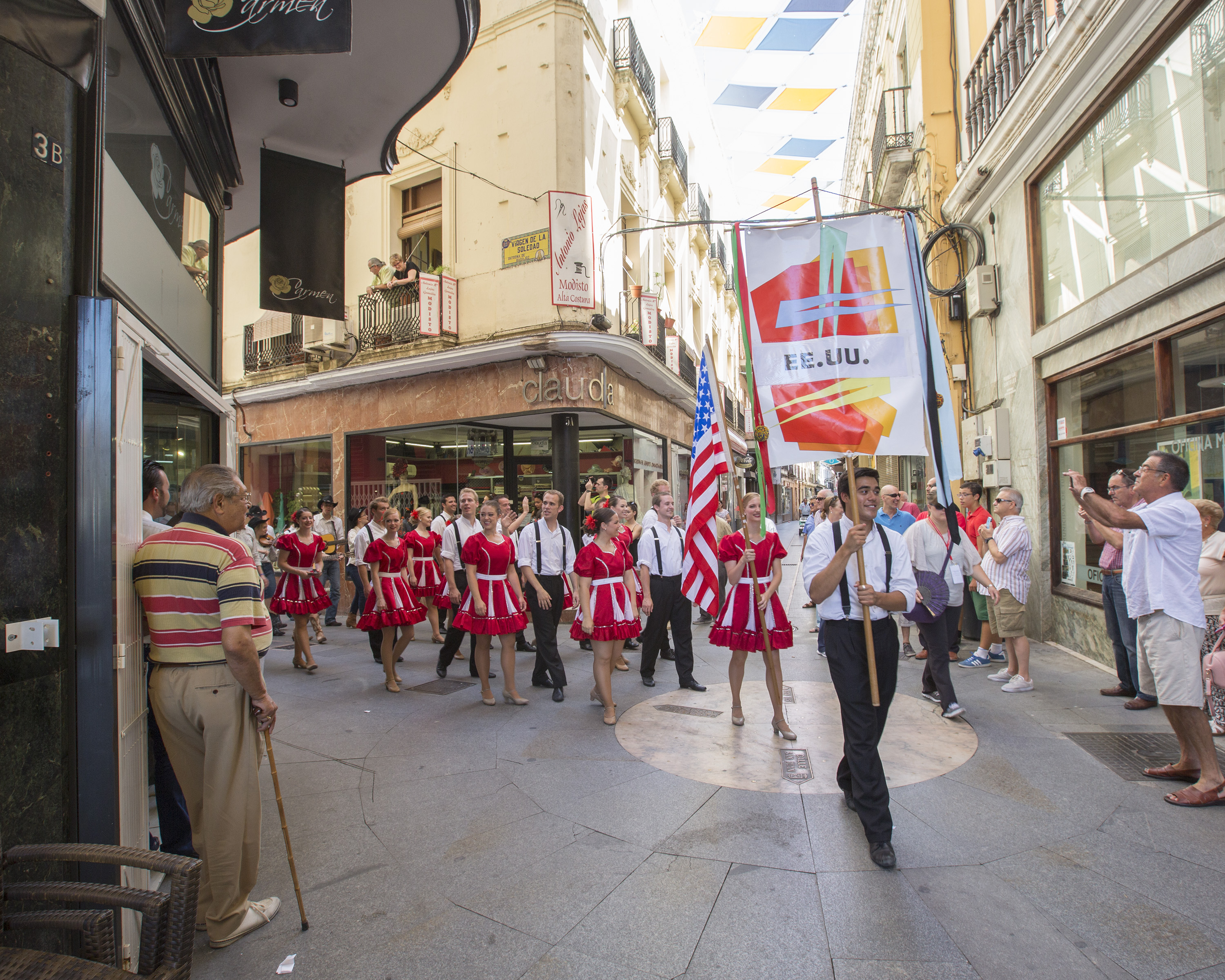 1507-77 4483  FKD Spain Tour Badajoz, Spain Extremadura Festival in Badajoz Parade  July 23, 2015  Photography by  Mark A. Philbrick/BYU  Copyright BYU Photo 2015 All Rights Reserved photo@byu.edu (801)422-7322  7965