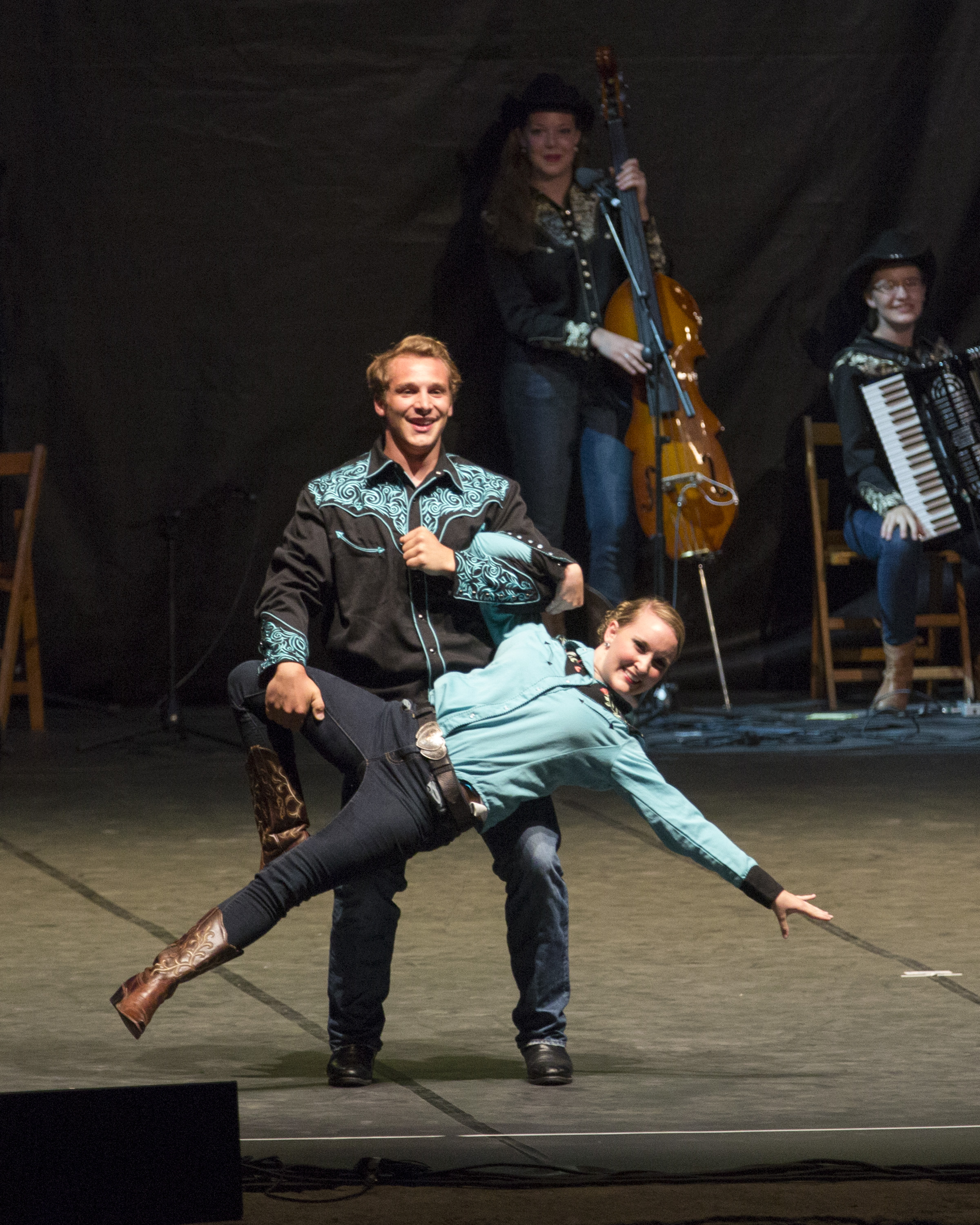 "Folk Dancers Zach Diamond and Jessa Richards performing USA ""Boot Kickin'"" at the International Folkloric Festival 'Ciudad de Burgos' in 2015.
