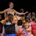 Theatre Ballet member Mary Londoño dances with children at a Prince and Princess Party. Photo by Michael Handley.